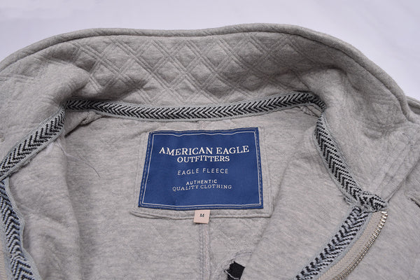 "Men's ""American Eagle"" Full Fashion Zipper Quilting Stylish Jacket- Gray Zipper Style-AEZJ49"