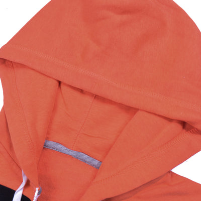 NK Slim Fit Stretchable Zipper Hoodie For Men-Orange with Black & Cyan Panel-BE11015