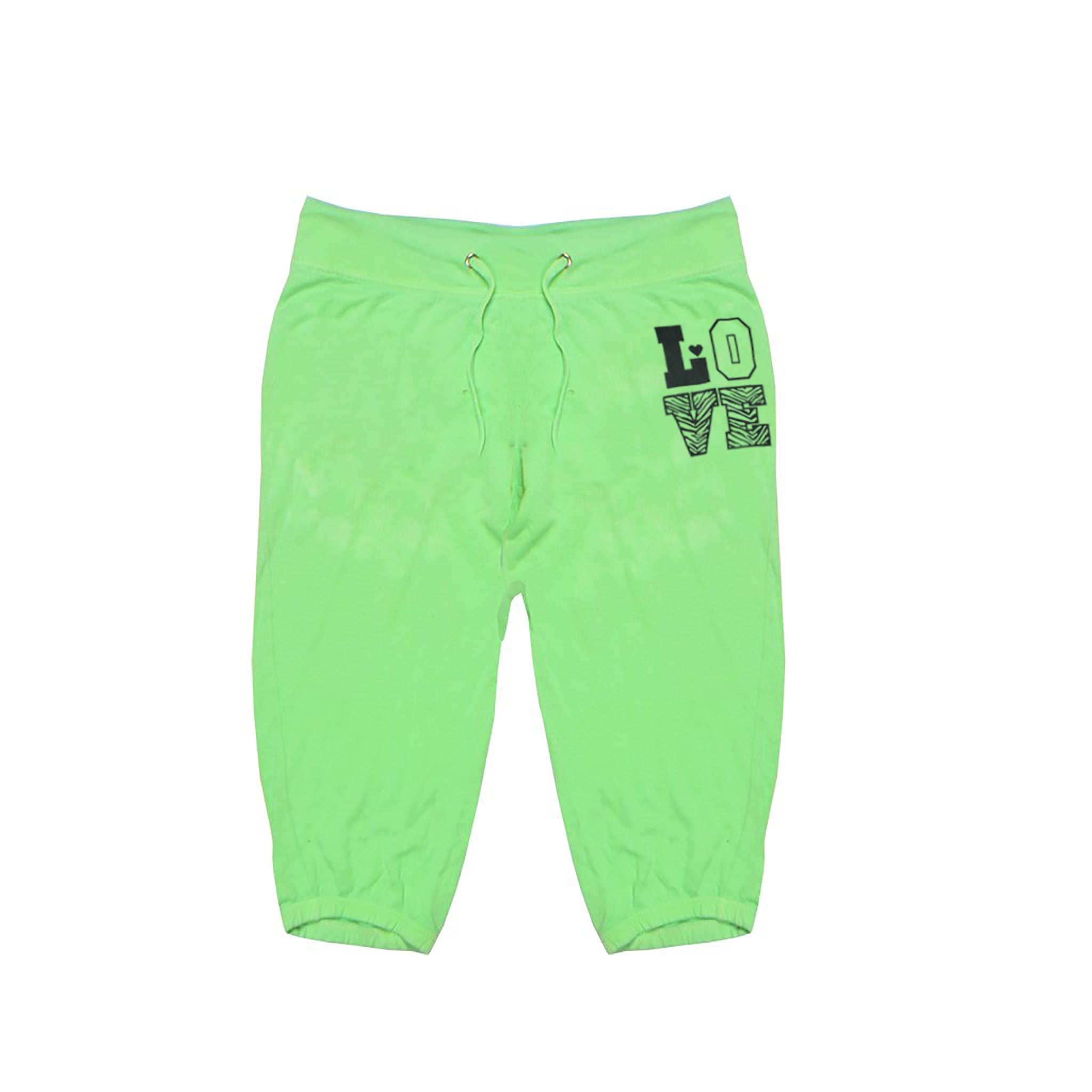 Feathers Terry Fleece Capri For Ladies-Green-BE5018
