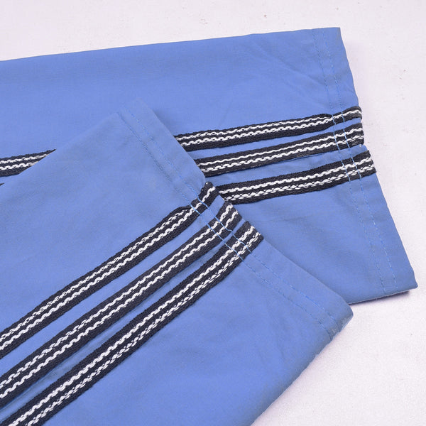 Adidas Cotton Trouser For Men-Light Sky Blue With Black & White Stripes-BE972