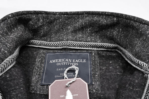 "Men's ""American Eagle"" Full Fashion Zipper Fleece Stylish Jacket- Light Charcoal Melange Pocket Style-AEZJ51"