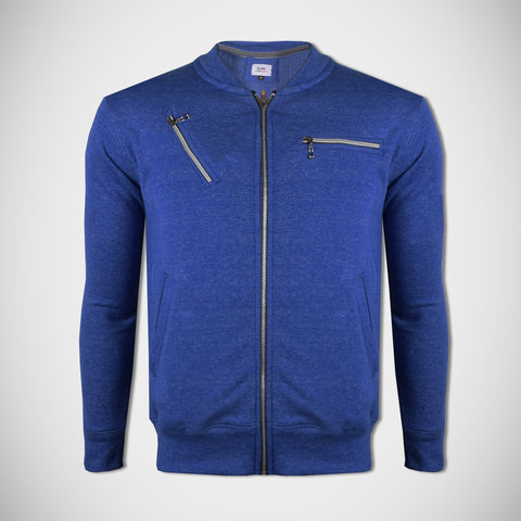 "Men's ""ZARA"" Full Sleeve Fleece Baseball Jacket-Blue Melange-BE242"
