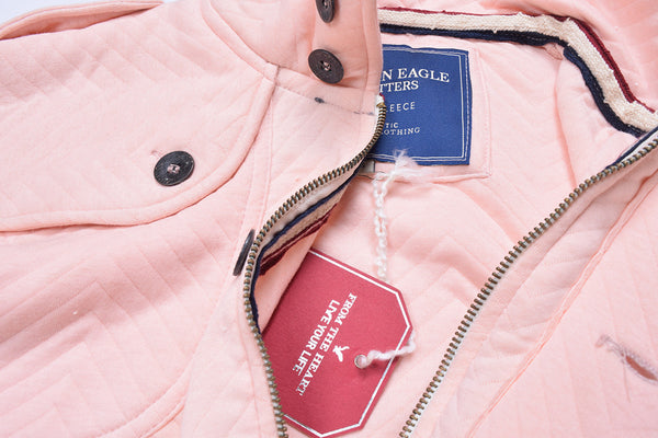 "Men's ""American Eagle"" Full Fashion Zipper Quilting Stylish Jacket- Light Pink-AEZJ23"