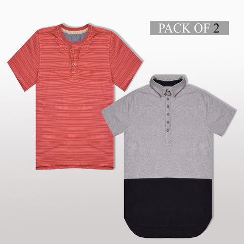 Pack Of 1 Polo & 1 Henlay Shirt For Men -AT37