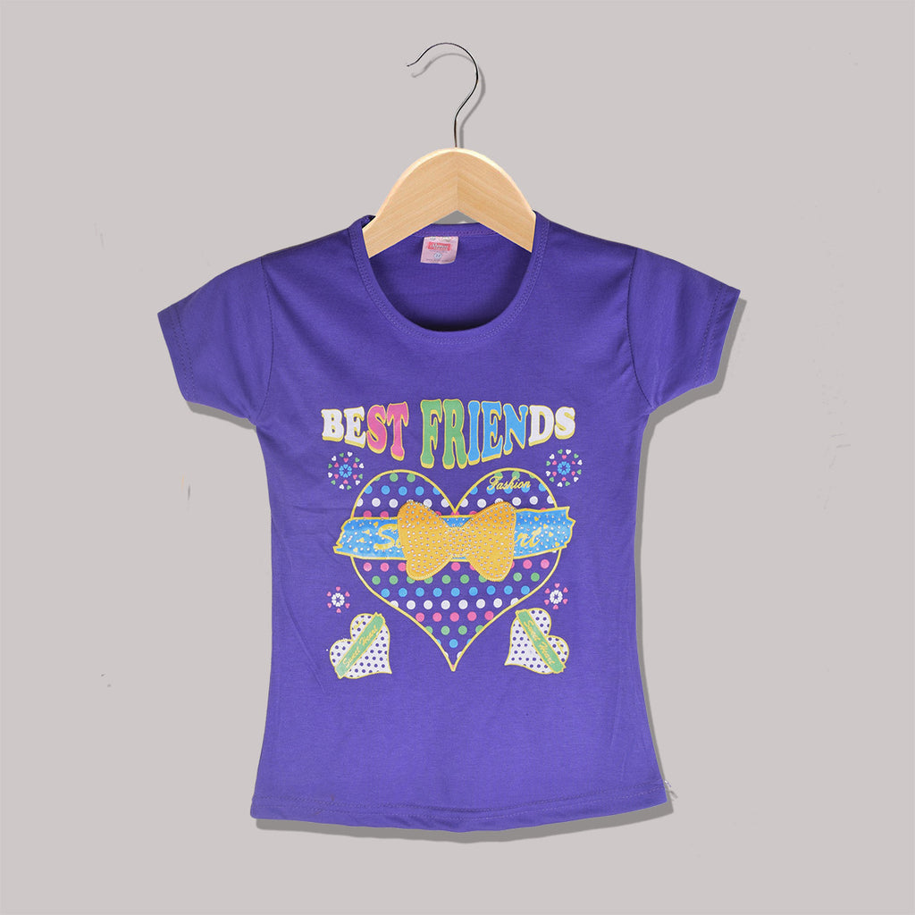 "Girls Top's""A.S' Crew neck Top-Purple-(T08)"