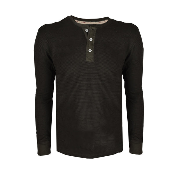 "Men's ""Next"" Full Sleeve Henley Thermal Shirt-Dark Green"