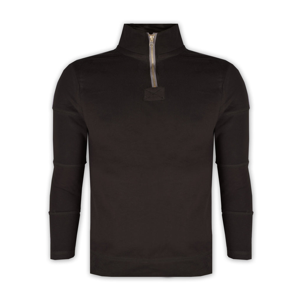 "Men's "" Boston Crew "" Stylish 1/3 Zipper Mock Neck-Chocolate-BCM01"