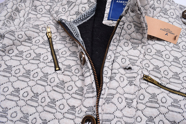 "Men's ""American Eagle"" Full Fashion Zipper Quilting Stylish Jacket- Off White All Over  Zipper Style-AEZJ53"