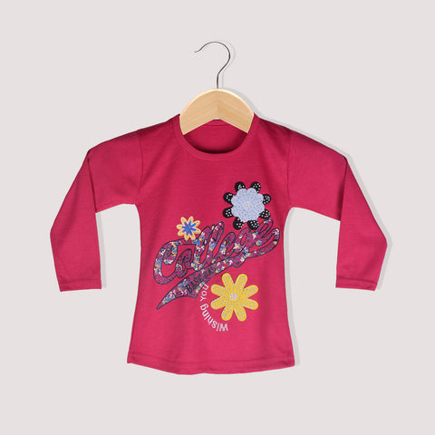 "Girls Top's""A.S' Crew neck Top-Pink-(T10)"