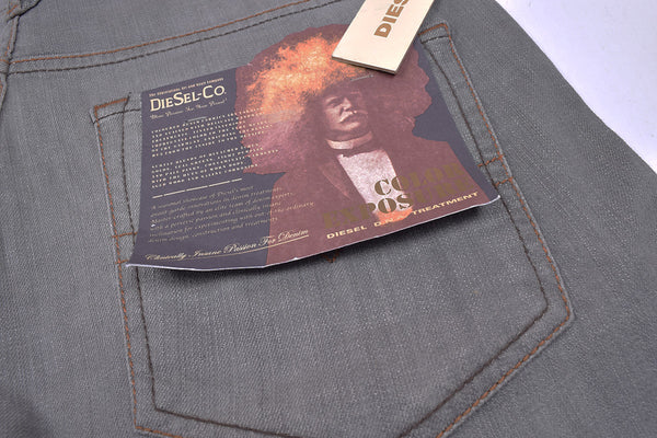 "Men's ""DIESEL"" Dark Grey Slim Fit Stretch Denim With Dark Grey Wash-ND02"