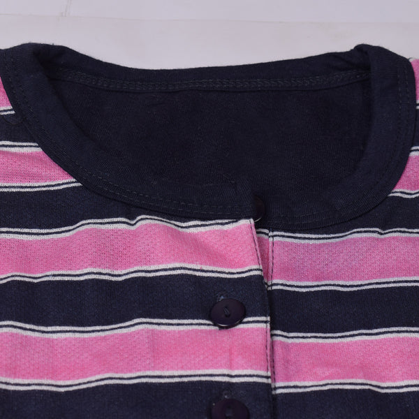 Ladies ARIS Stylish Full Sleeve Henley Blouse Striped-BE666