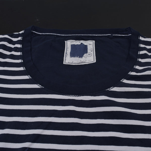 Ladie's Fat Face Cut Label Stylish Blouse-White Navy Striper-SB04