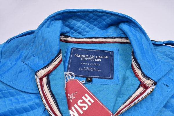 "Men's ""American Eagle"" Full Fashion Zipper Quilting Stylish Jacket-Ferozi-AEZJ02"