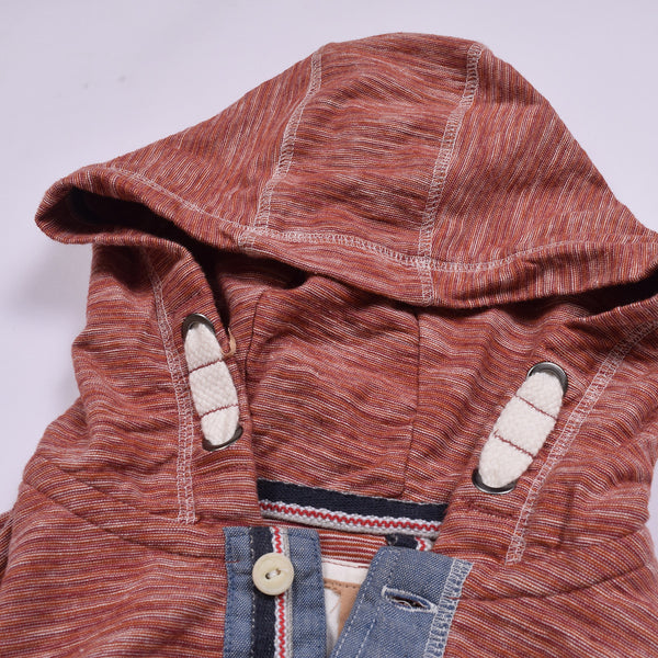 "Kid's Cut Label "" Next "" Henley Hoodie -Red Melange-GMH02"