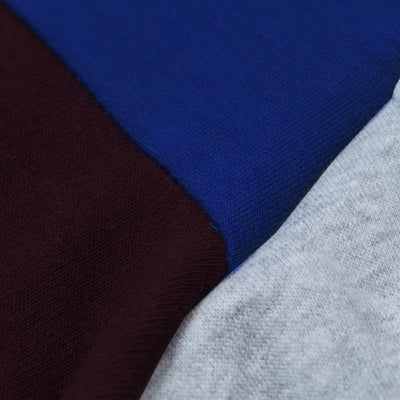 Next Fleece Pullover Hoodie For Men-Grey With Blue & Burgundy Panel-NA10637