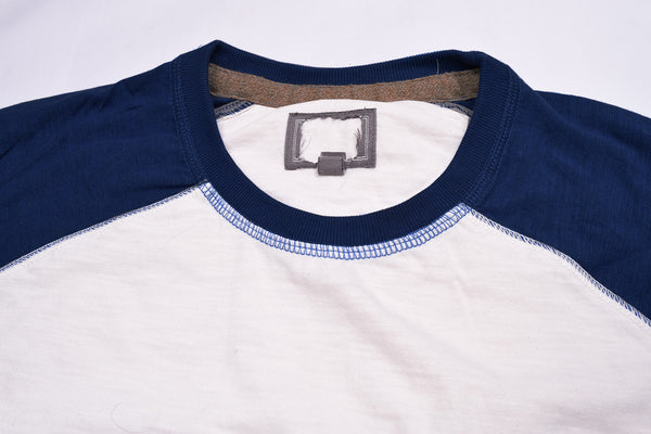 "Men's Cut Label ""Next"" Full Sleeve Crew Neck Jersy Shirt-White & Blue -BE33"