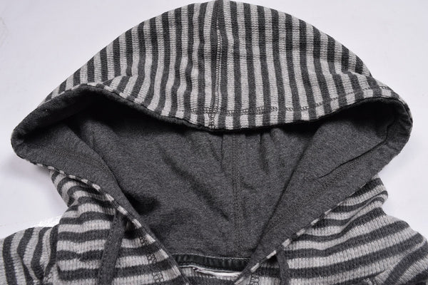 "Men's Cut Label ""Next"" Stylish Striper Zipper Hoodie-Dark Gray & White-H22"