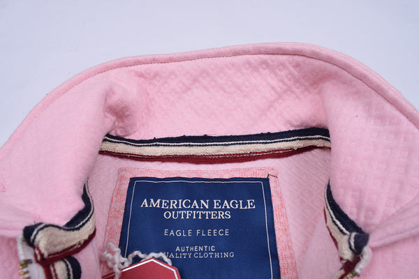 "Men's ""American Eagle"" Full Fashion Zipper Quilting Stylish Jacket-Baby Pink-AEZJ04"