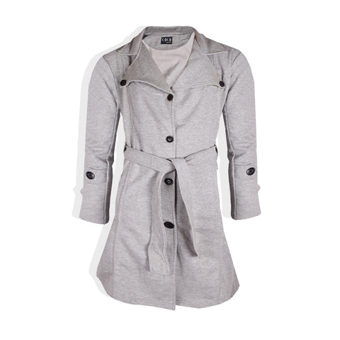 "Ladie's "" Coco "" Stylish Long Trench Coat -Gray-LC08"
