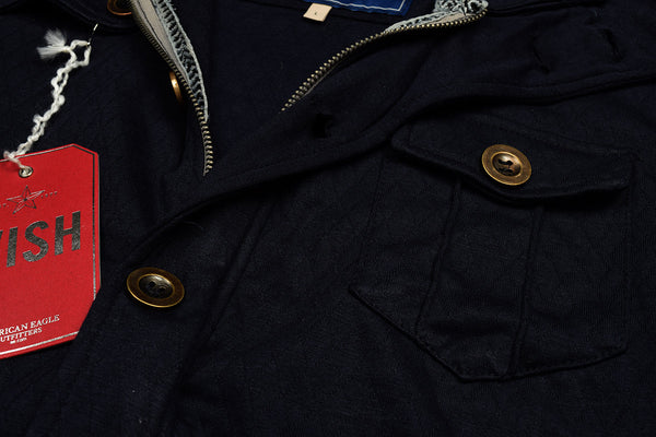 "Men's ""American Eagle"" Full Fashion Zipper Fleece Zig Zag Stylish Jacket- Dark Navy Pocket Style-AEZJ78"