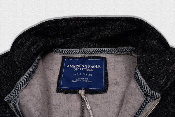 "Men's ""American Eagle"" Full Fashion Zipper Fleece Stylish Jacket- Black Melange Pocket Style-AEZJ77"