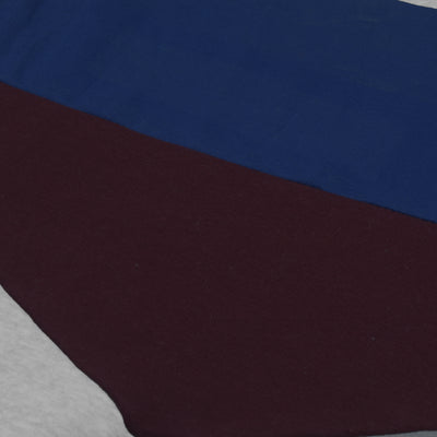 New Stylish Fleece Pullover Hoodie For Men-Grey Melange With Dark Blue & Dark Maroon Panels-SP1668
