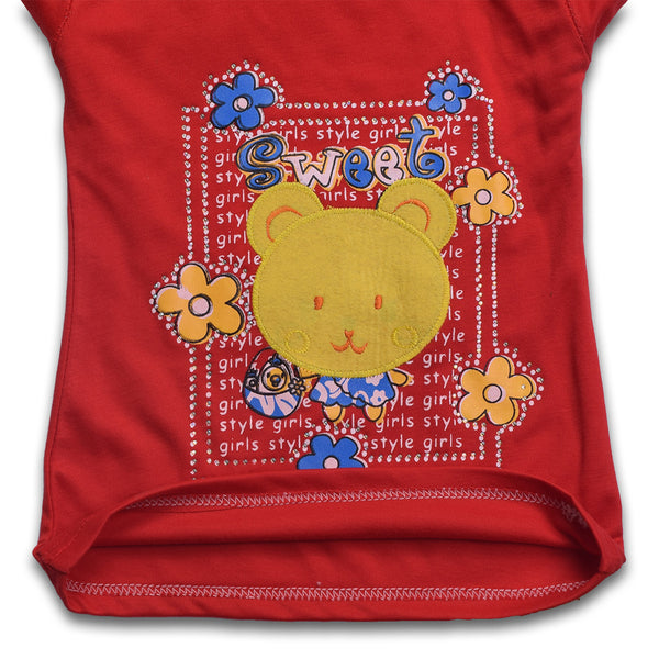"Girls Top's""A.S' Crew neck Top-Red-(T09)"
