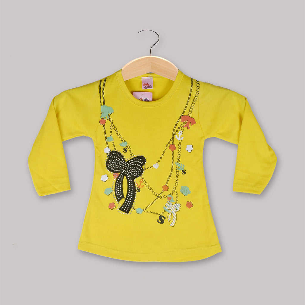 "Girls Top's""A.S' Crew neck Top-Yellow-(T12)"