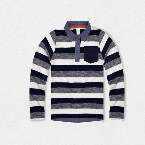 Next Long Sleeve Polo Shirt for Kids-Striped-BE2058
