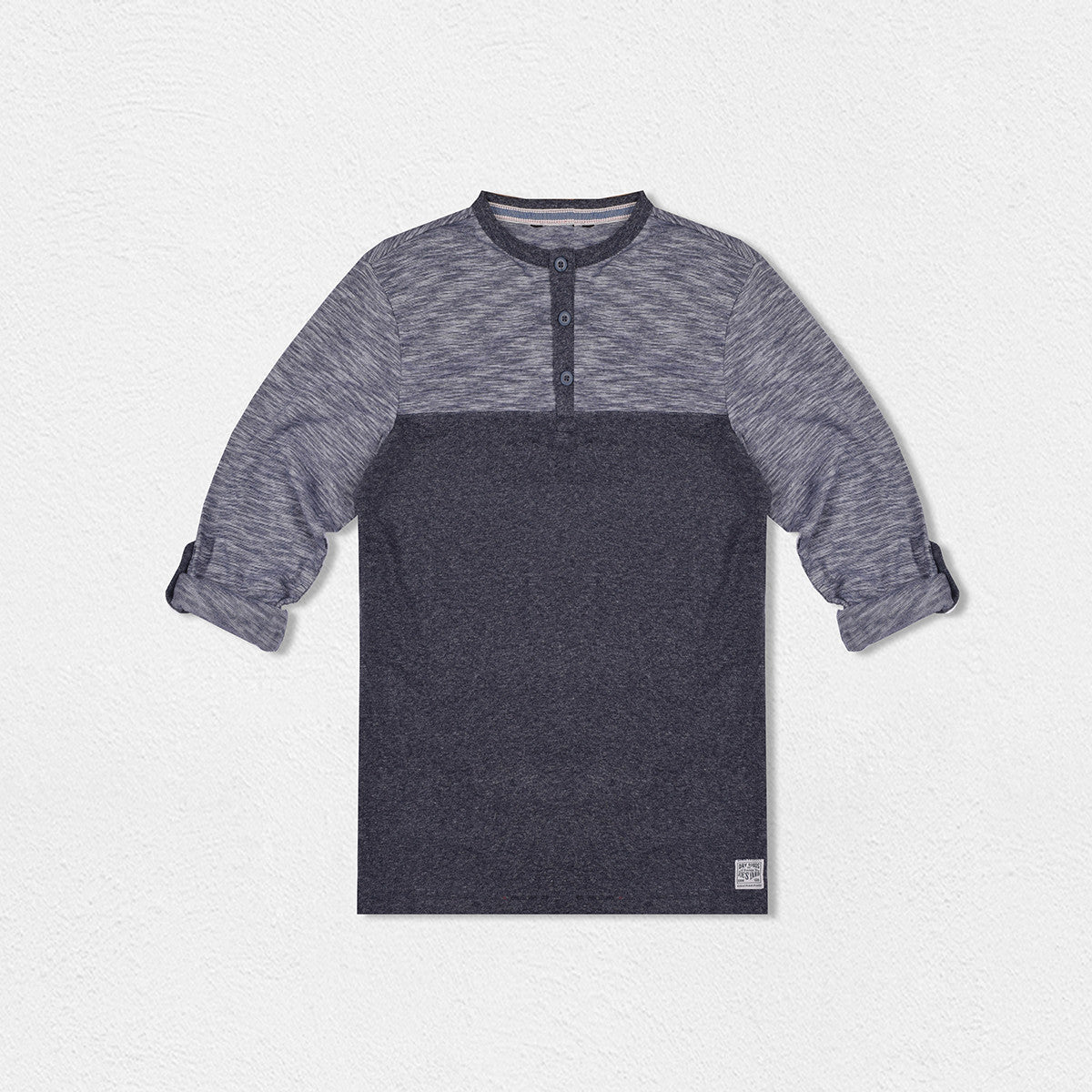 Next Henley Full Sleeve T Shirt For Kid-Blue Melange-BE2067