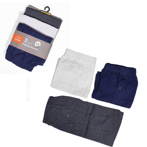 Pack Of 3 Classic Cotton Boxer Shorts For Men-Assorted-NA1095