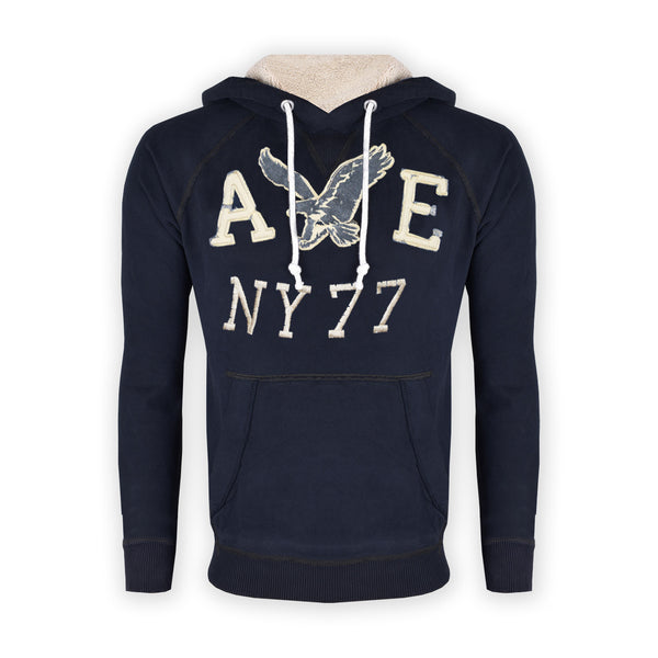 "Men's Cut Label ""American Ealgle"" Stylish Pullover Hoodie -Dark Navy-H10"
