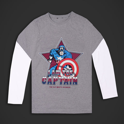 Kids Captain America Full Sleeve Tee Shirt-Gray White-DK22
