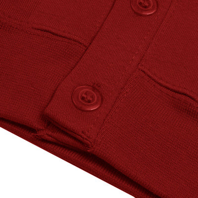 Banner Full Sleeve Y Neck Sweat Shirt Cardigan-Red-NA10411