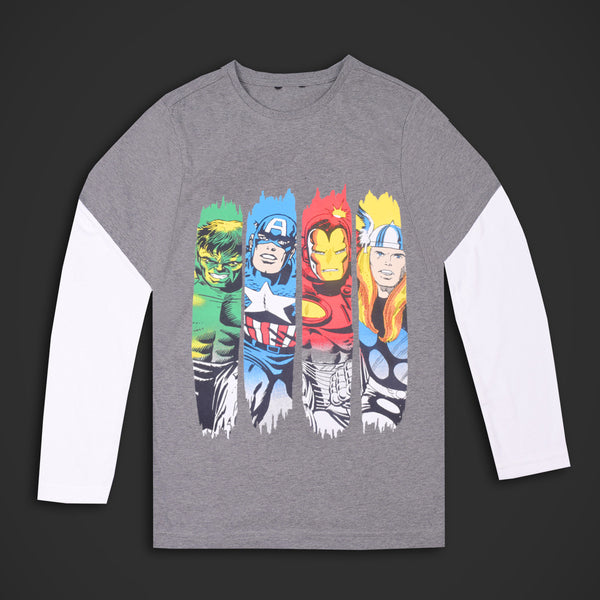 Kids Warriors Full Sleeve Tee Shirt-Gray White- DK16