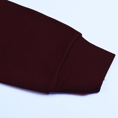 Banner Full Sleeve Y Neck Sweat Shirt Cardigan-Burgundy-NA10401