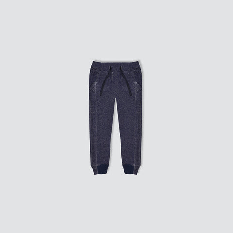 "Kid's Cut Label ""Next"" Dark Navy Melange Terry Fleece Close Bottom Trouser-KT10"