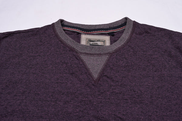 "Men's Cut Label ""Fat Face"" Crew Neck Singal Jersy Sweatshirt-Magenta Melange-BE26"