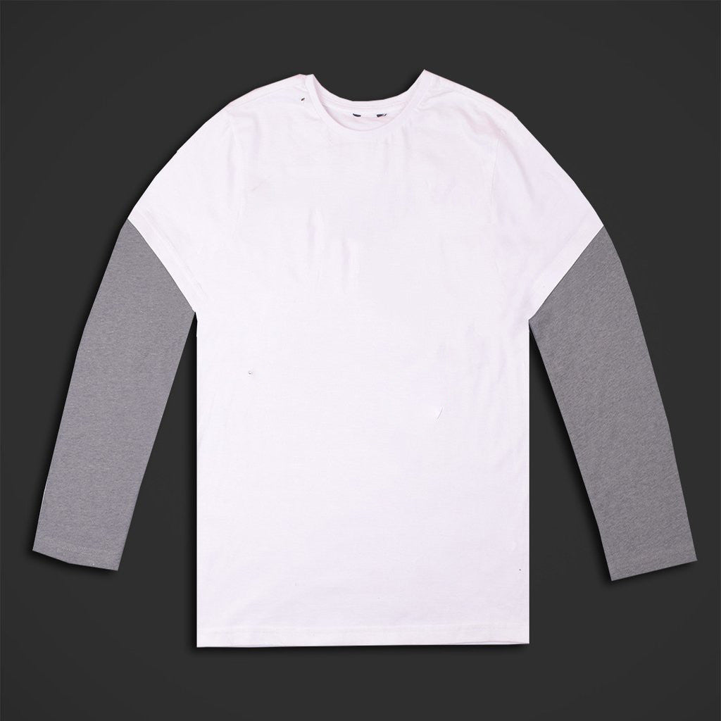 Kids Full Sleeve Tee Shirt-White & Gray-BE103