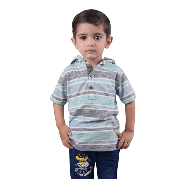 Next Henley Hoodie Shirt For Kids-Striped-BE2081