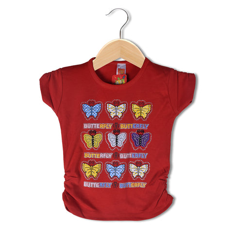 "Girls Top's""A.S' Crew neck Top-Red-(T20)"
