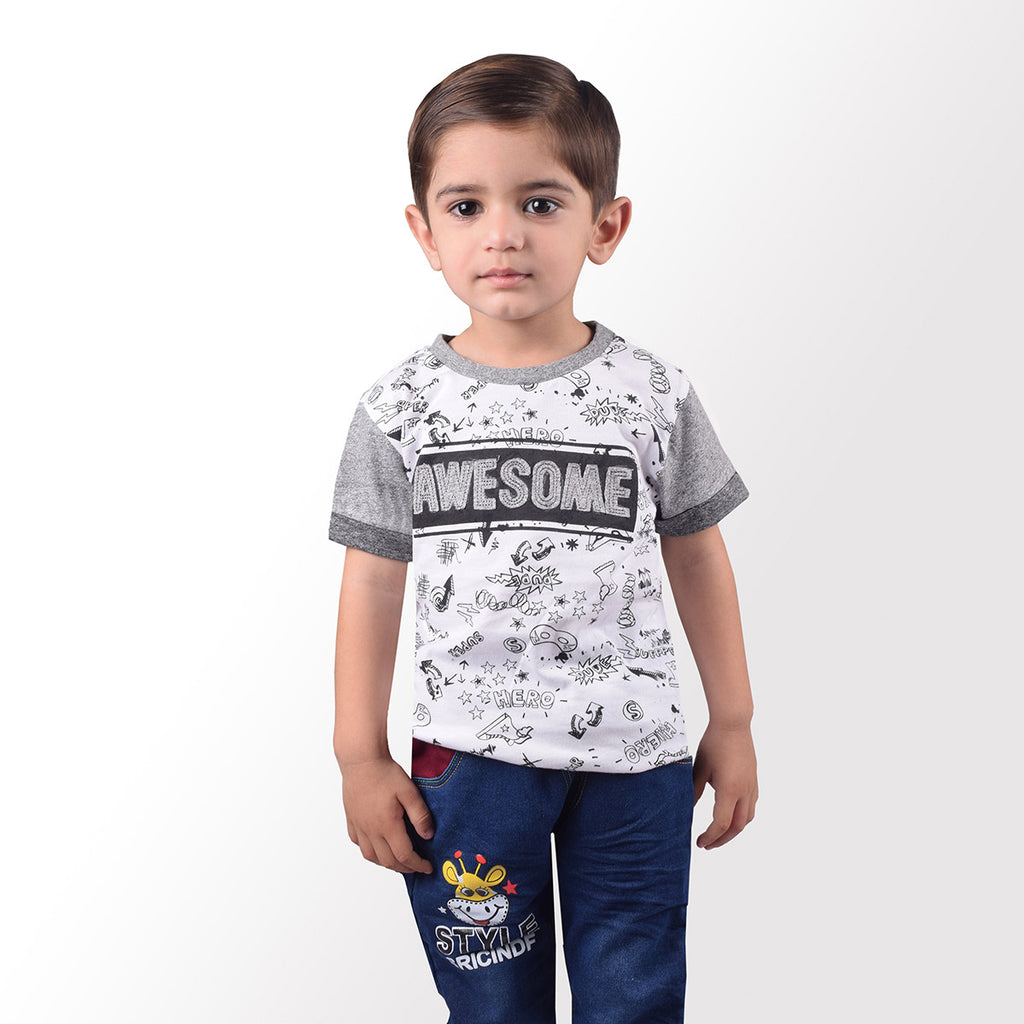 Next Crew Neck Half Sleeve T Shirt For Kid-White Printed With Aplic-BE2059
