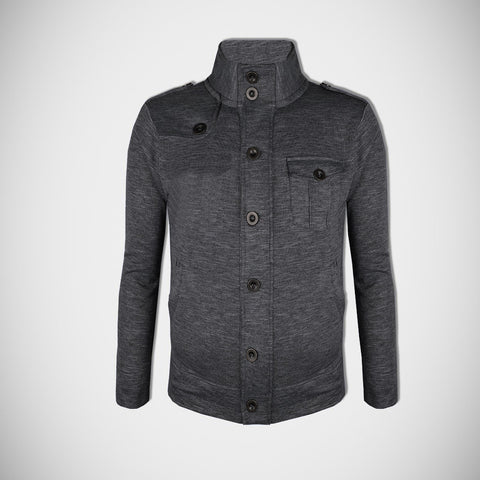 "Men's ""American Eagle"" Full Fashion Zipper Fleece Stylish Jacket- Charcoal Melange Pocket Style-AEZJ80"