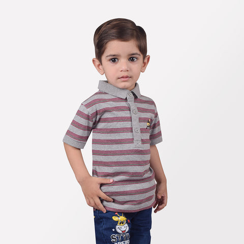 B Quality Next Polo Shirt For Kid-Gray & Maroon Striped-BE2072