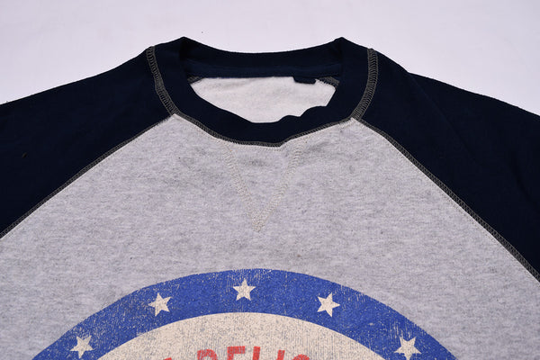 "Men's Cut Label ""Next"" Crew Neck Fleece Cocacola Printed Sweatshirt-Dark Navy & Gray-BE28"