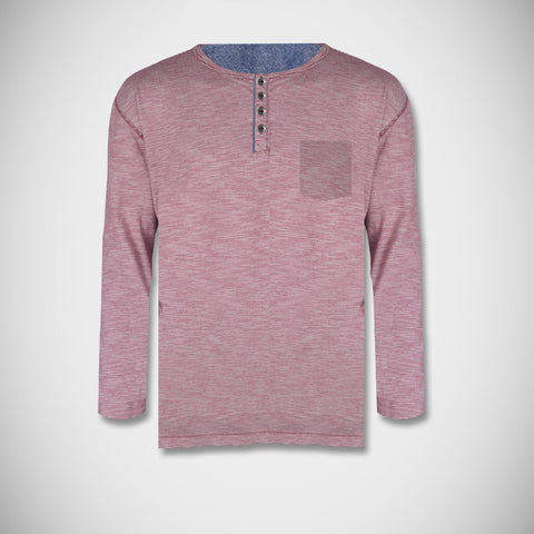 "Men's Cut Label ""Next"" Henley Shirt-Light Magenta Melange-BE94"