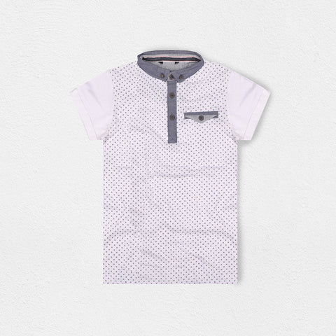 Next Polo Shirt for Kids-White Dotted-BE2063