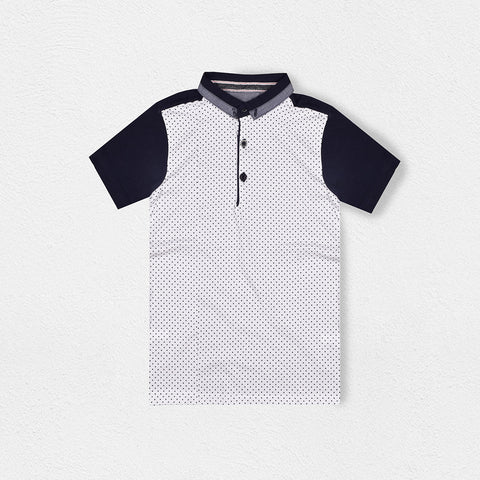 B Quality Next Polo Shirt for Kids-White Dotted & Dark Navy-BE2062