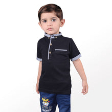 Next Polo Shirt For Kid-Black-BE2073