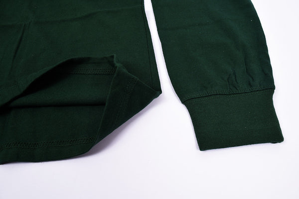 Men's Cut Label Rugby Polo Shirt-Dark Green-BE264